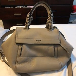 Tory Burch Small Half Moon Satchel in French Gray